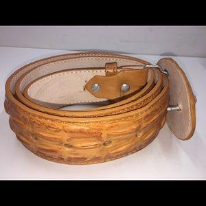 Hand Made Accessories - Men's Crocodile Print Leather Belt Color Mango